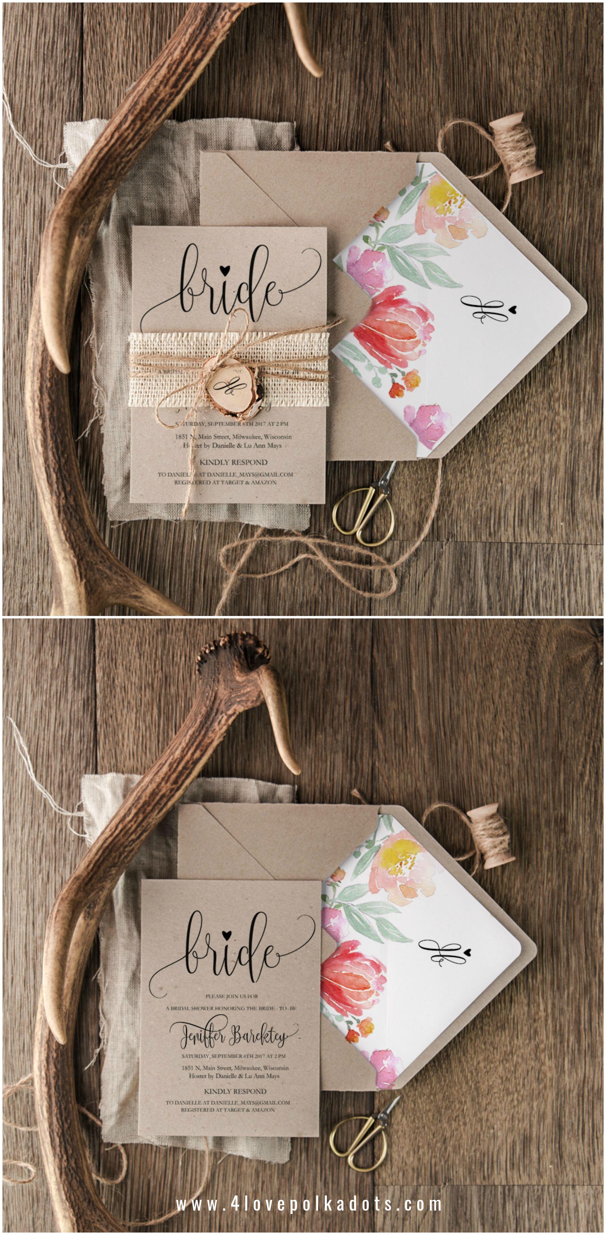 bb79808dbd7c Bridal Shower Invitations with wooden tag  bride  bridetobe   bridalshowertea  wedding  rustic  floral  colorful
