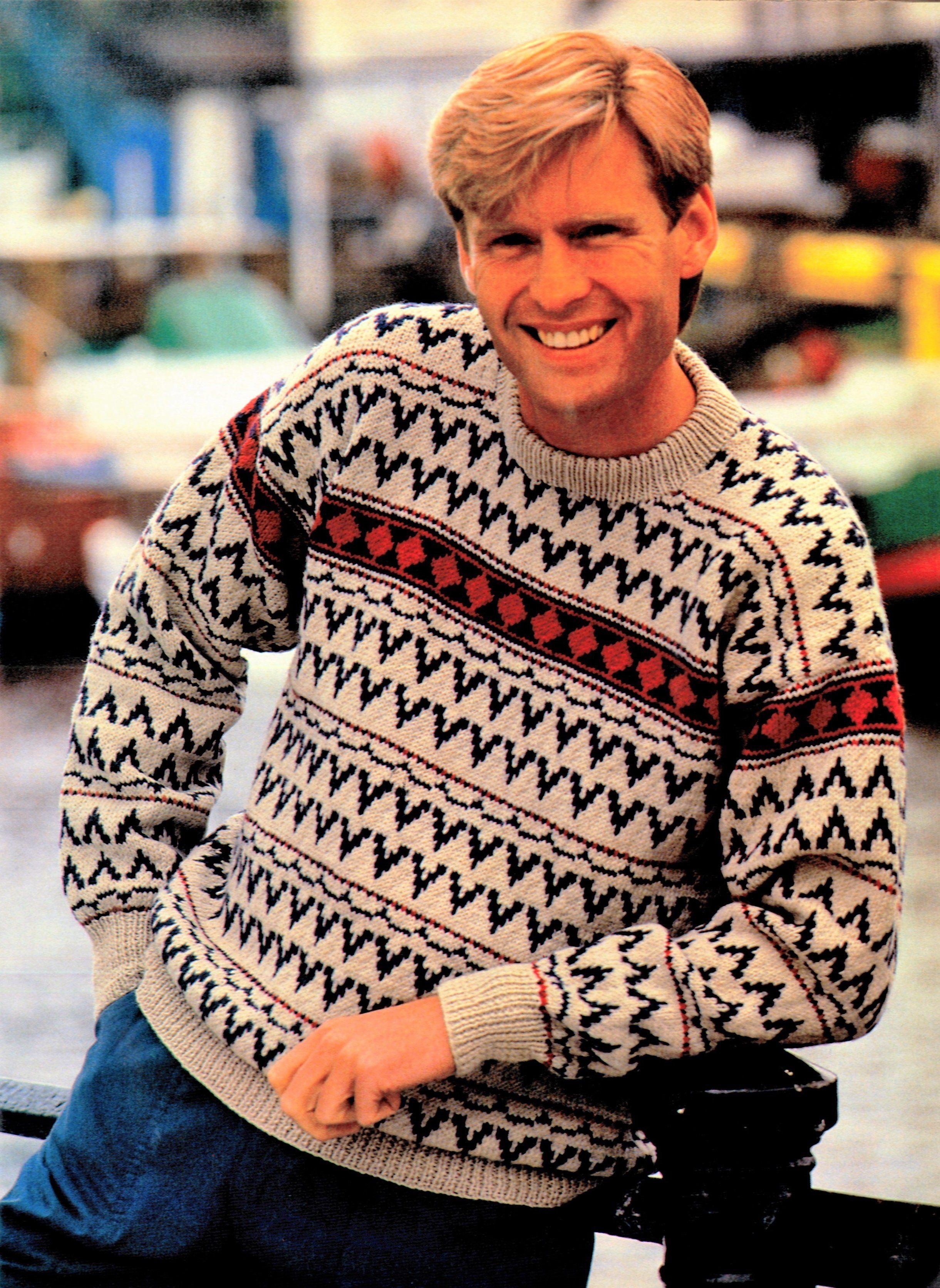 Mens Knitted Sweater Pattern, Vintage Fair Isle Jumper ...