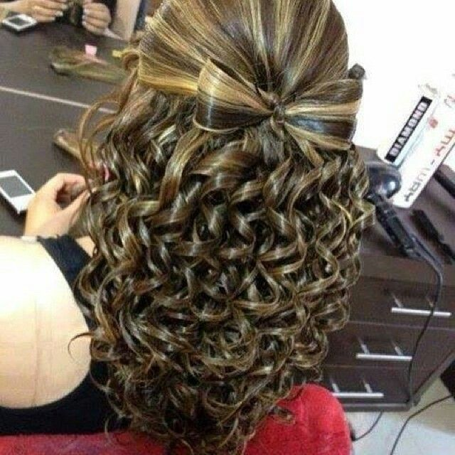 Bow With Waterfall Curls Hairstyle