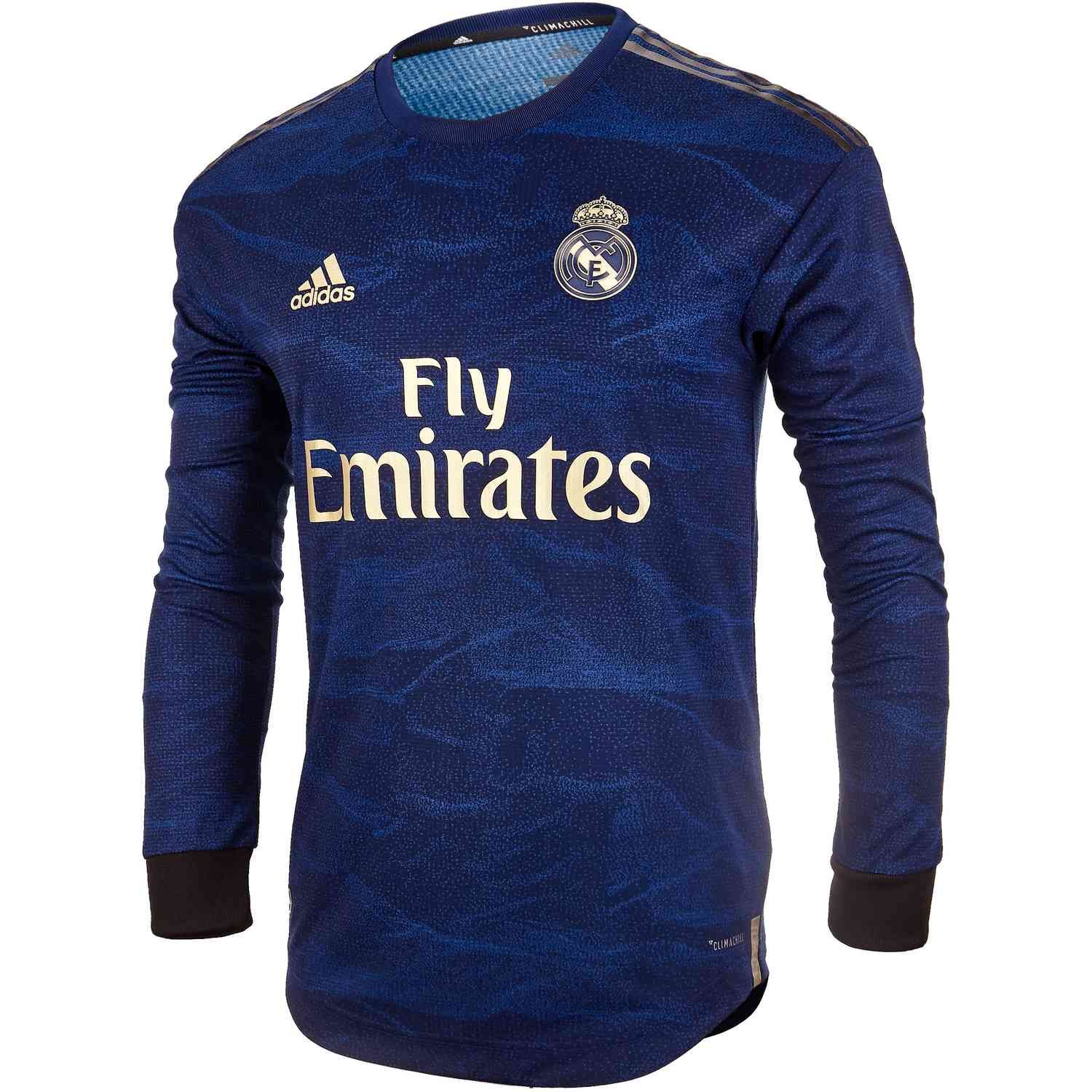 2019 20 Adidas Real Madrid L S Authentic Away Jersey Camisas De Futbol Camisetas De Futbol Real Madrid Futbol