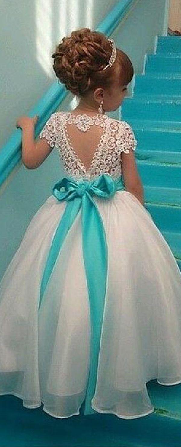Marvelous Organza & Lace Jewel Neckline Ball Gown Flower Girl ...