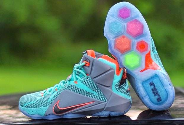 THE SNEAKER ADDICT  Nike LeBron 12 Turquoise Grey-Crimson Black Sneak. d7d41cd2d