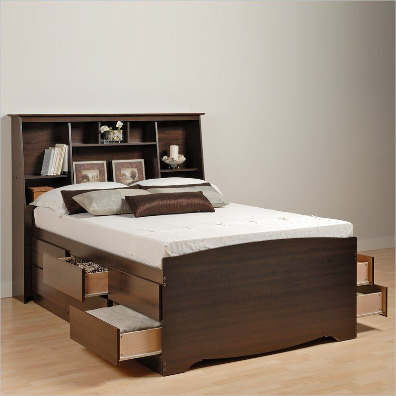 Prepac Manhattan Tall Queen Bookcase Platform Storage Bed In Espresso Finish Bed With Drawers Underneath Bed Frame With Storage Beds For Small Spaces High bed frame with storage