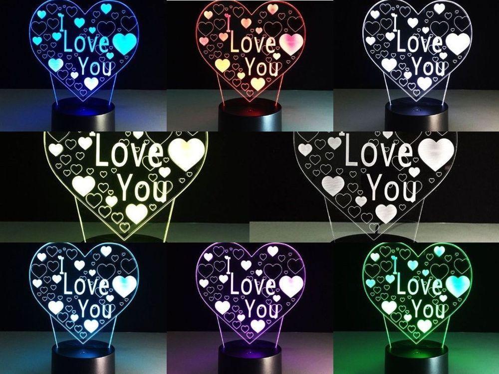 Valentines Day Gift For Him Her 3D Lamp Decor Night Light I Love U Heart  Shape