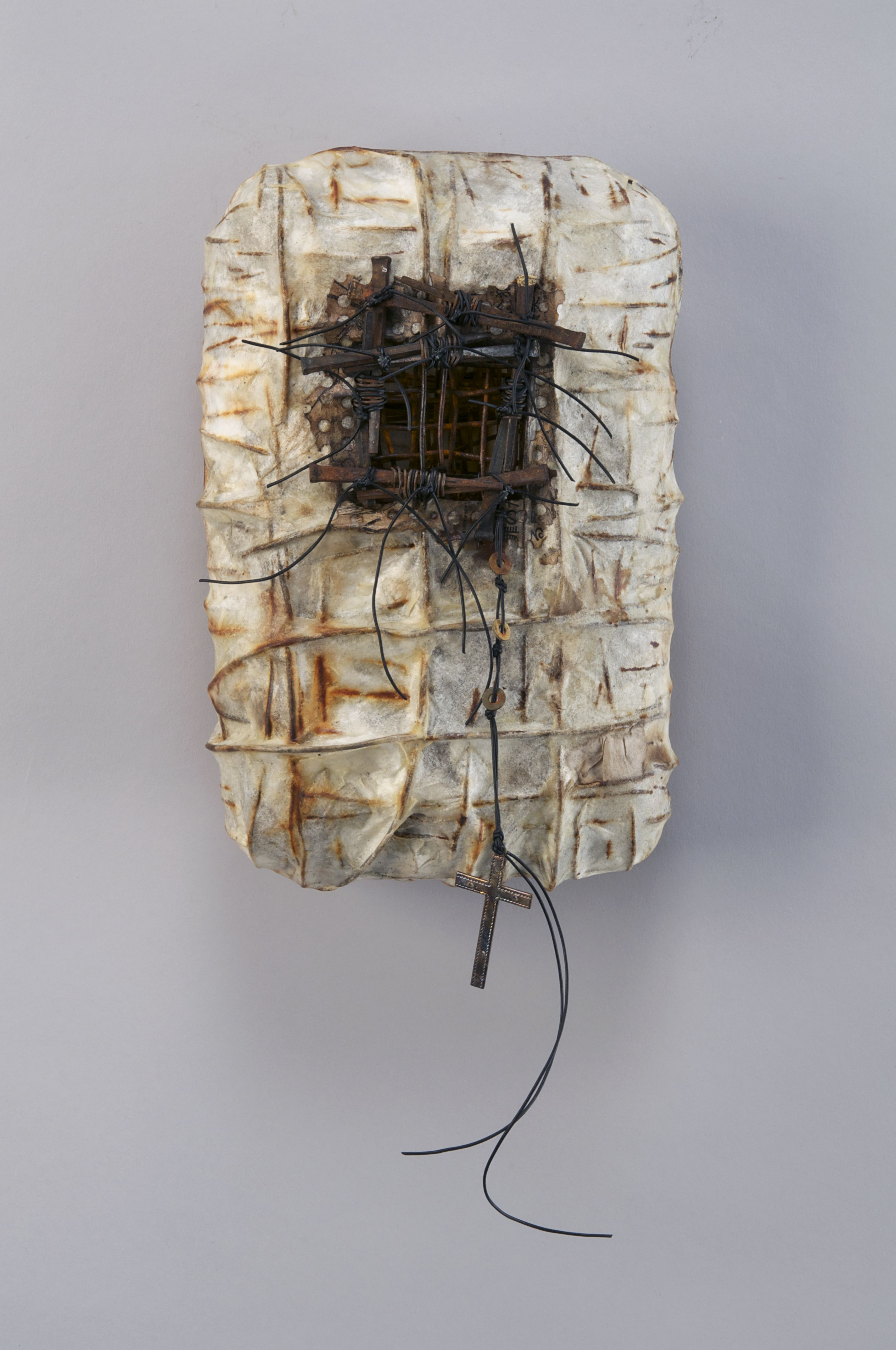 Shannon Weber, Oregon Confessional Series Encaustic Sculpture / hand woven wire, mixed papers, found objects