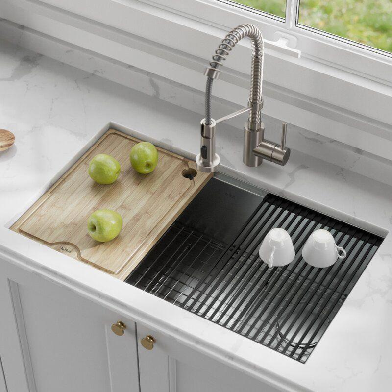 Kraus Kore Workstation 16 Gauge Stainless Steel 32 L X 19 W Undermount Kitchen Sink Undermount Kitchen Sinks Single Bowl Kitchen Sink Farmhouse Sink Kitchen