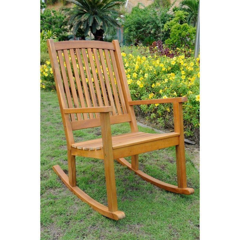 International caravan acacia large rocking chair brown