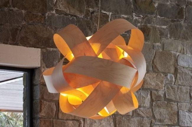 Steinwand Interieur Lampe Selbermachen Aus Holz Furnier