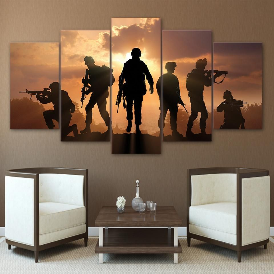 5 Piece Canvas Art Army Soldier Sunset Painting Wall Pictures For Living Room Canvas Prints Wall Art Pictures Wall Painting Canvas Wall Art