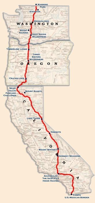 Trail From Mexico To Canada Map the PCT (pacific crest trail) is a 2650 mile hike from mexico to