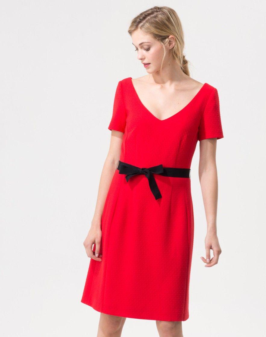 4f6ee94ea81e Robe rouge fantaisie de matière Vanina 1 1.2.3