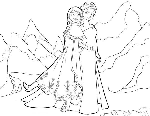 Anna From Frozen Coloring Pages Frozen Anna And Elsa Standing Side By Side Coloring Page Anna Elsa Coloring Pages Batman Coloring Pages Cool Coloring Pages