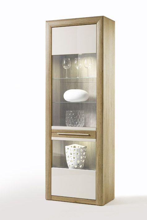 Vitrine Lana I Hochglanz Weiß und Sanremo Sand passend zum - moderner wohnzimmerschrank mit glastüren und led beleuchtung