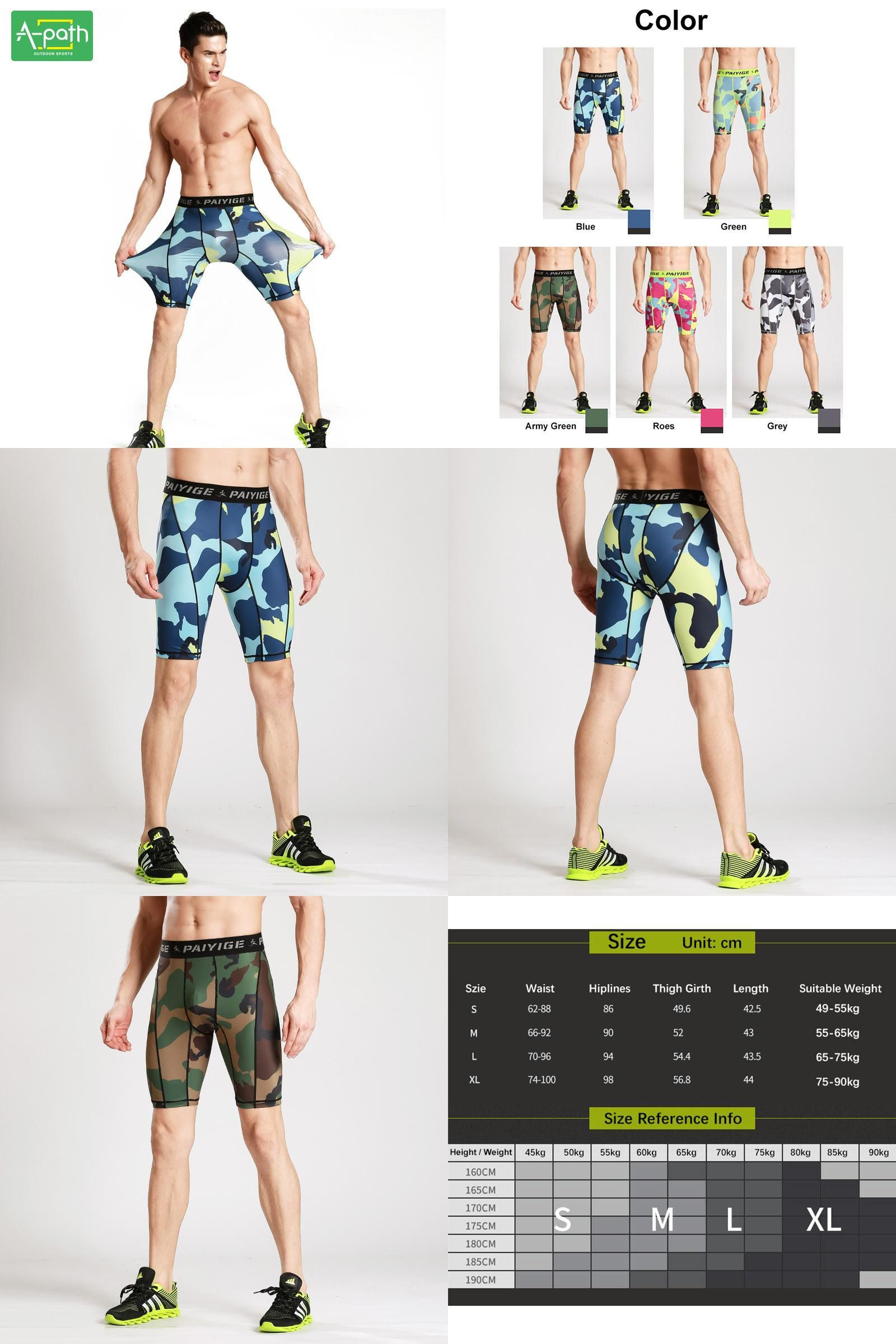 f068dabcd0a98 [Visit to Buy] New Summer Outdoors Quick-dry Male Camouflage Fitness  Running Tights Mens Sport Leggings Shorts bodysuit #Advertisement