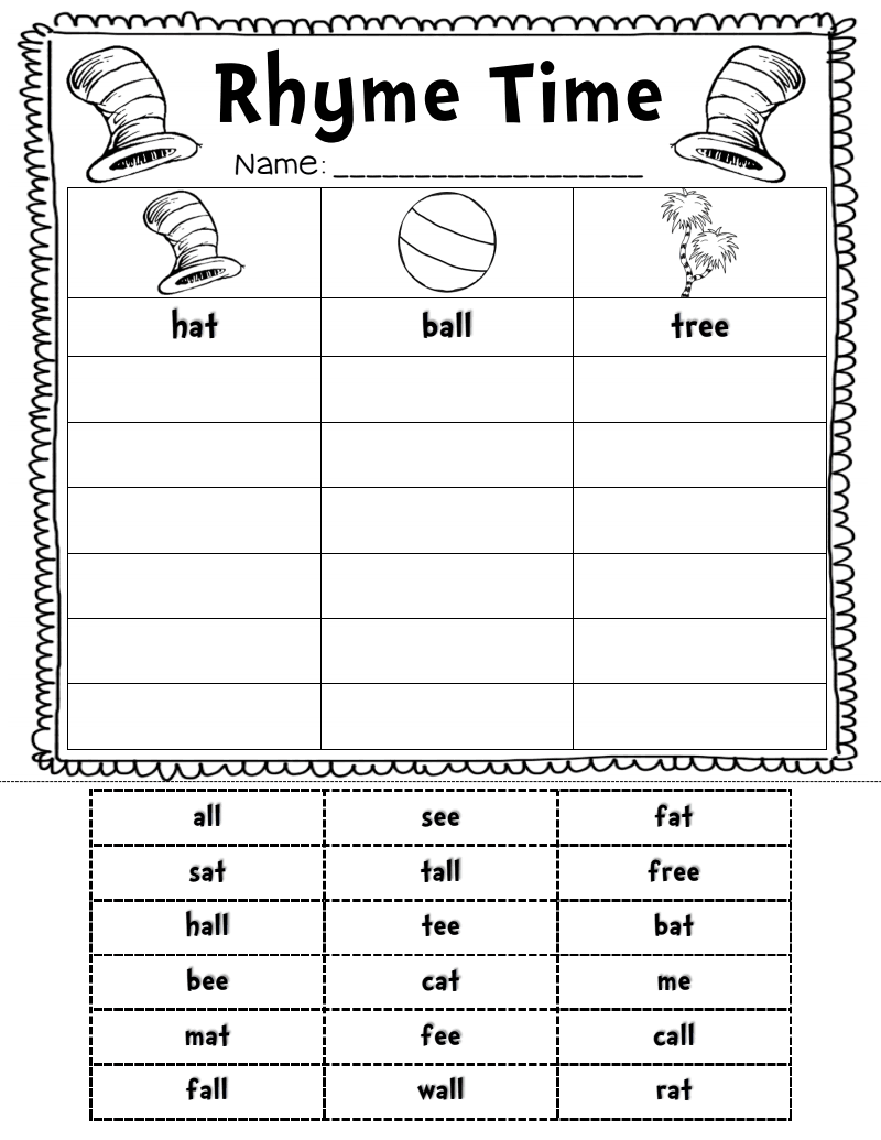 Rhyme Time Sort.pdf Rhyming activities, Dr seuss day, Dr