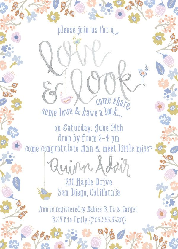 Sip and see love look baby shower invite floral and birdie sip see baby shower invite floral baby girl shower invitation via lou m4hsunfo