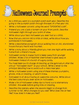 halloween writing prompts for middle and high school  education  halloween writing prompts for middle and high school   teacherspayteacherscom