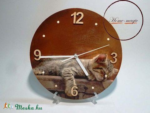 Falióra - cica, cicus, macska, macsek, Otthon, lakberendezés, Dekoráció, Falióra, Dísz, Meska