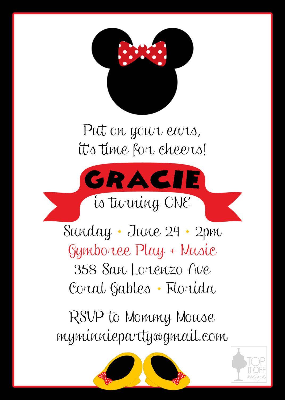 Minnie and Mickey Mouse Birthday Invitation by shoptopitoffdesigns ...