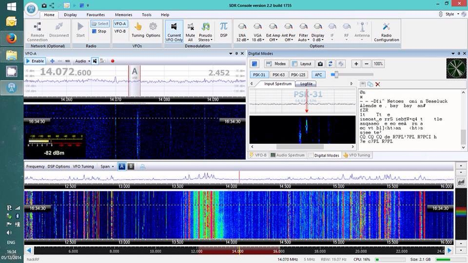 Watching some faint PSK: SDR Console v2 2, HackRF, Ham It Up