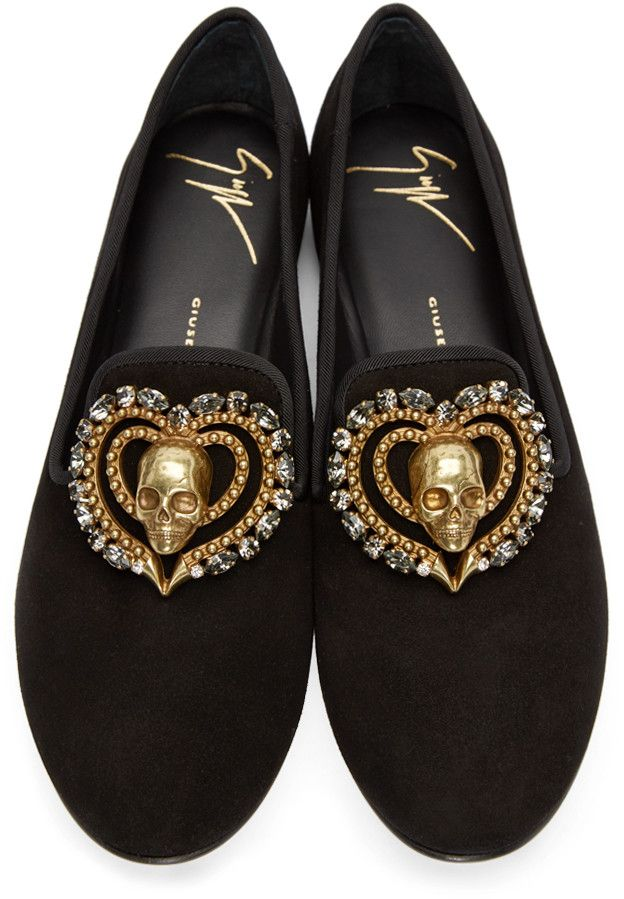 1025ee4ea46fe Giuseppe Zanotti - Black Suede Skull Heart Loafers | Men's dress ...
