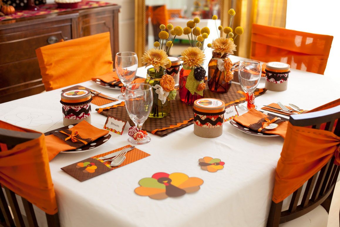 Modern Decorations Interior Chic Thanksgiving Table Design With Orange Color Theme And Creative Diy Ornaments And Flower Yellow Countertop Wood Chairs White ... & Get Festive This Fall with These DIY Thanksgiving Decorations ...