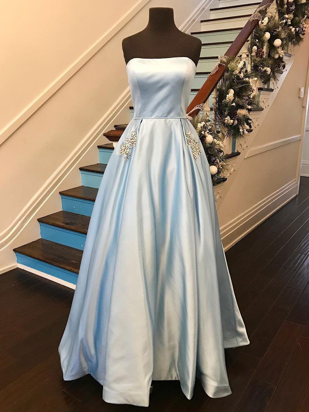 Aline strapless satin with rhinestone beaded cheap long prom