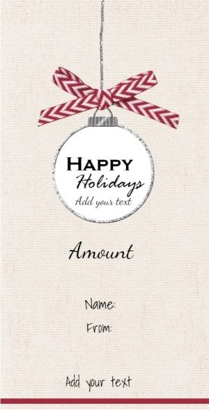 Hanging Christmas decoration on Gift card Happy Holidays