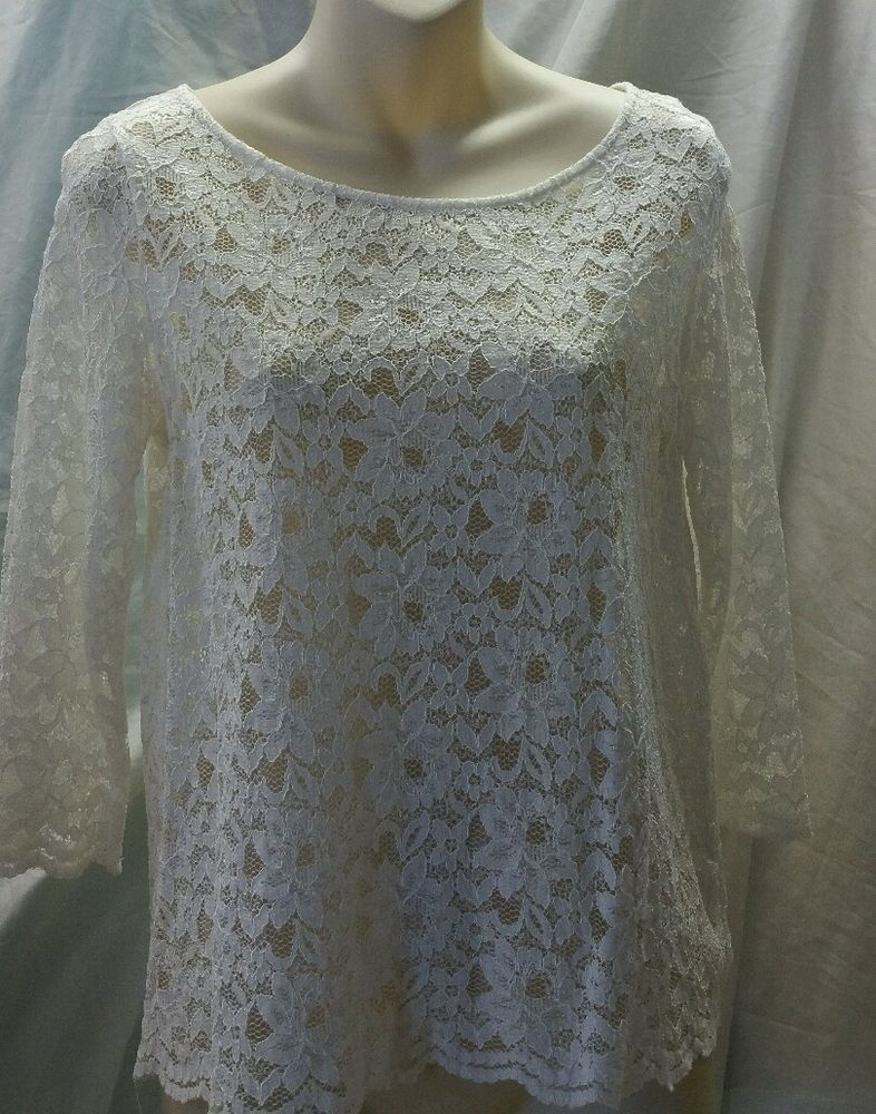 Madison Woman's Ivory Lace Top Size S Buttons down the back #Madison #KnitTop #EveningOccasion