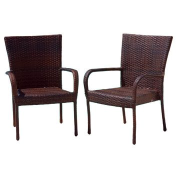 Home Loft Concept Outdoor Wicker Chair in Multi-Color Brown (Set of 2)