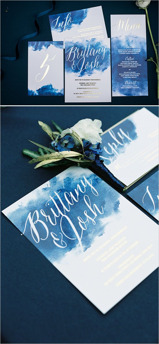 how to put guest names on wedding invitations%0A In a red color with gold writing watercolor deep blue wedding stationery