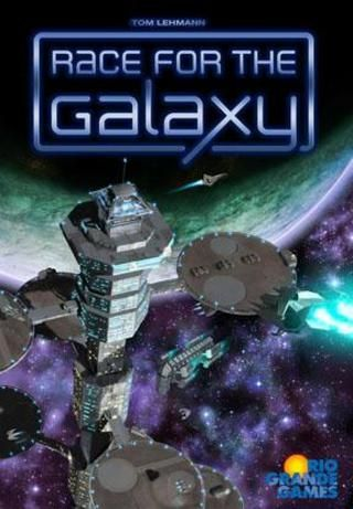 In Race for the Galaxy from Rio Grande Games, players build galactic civilizations using game cards that represent worlds or technical and social developments. With cards, players can settle new worlds and build more developments, gaining both victory points and card powers that provide advantages in certain phases. The player who best manages his cards, phase and bonus selections, and card powers to build the greatest space empire, wins. 2-4 players, 12 yrs and up; allow 60 minutes to play.