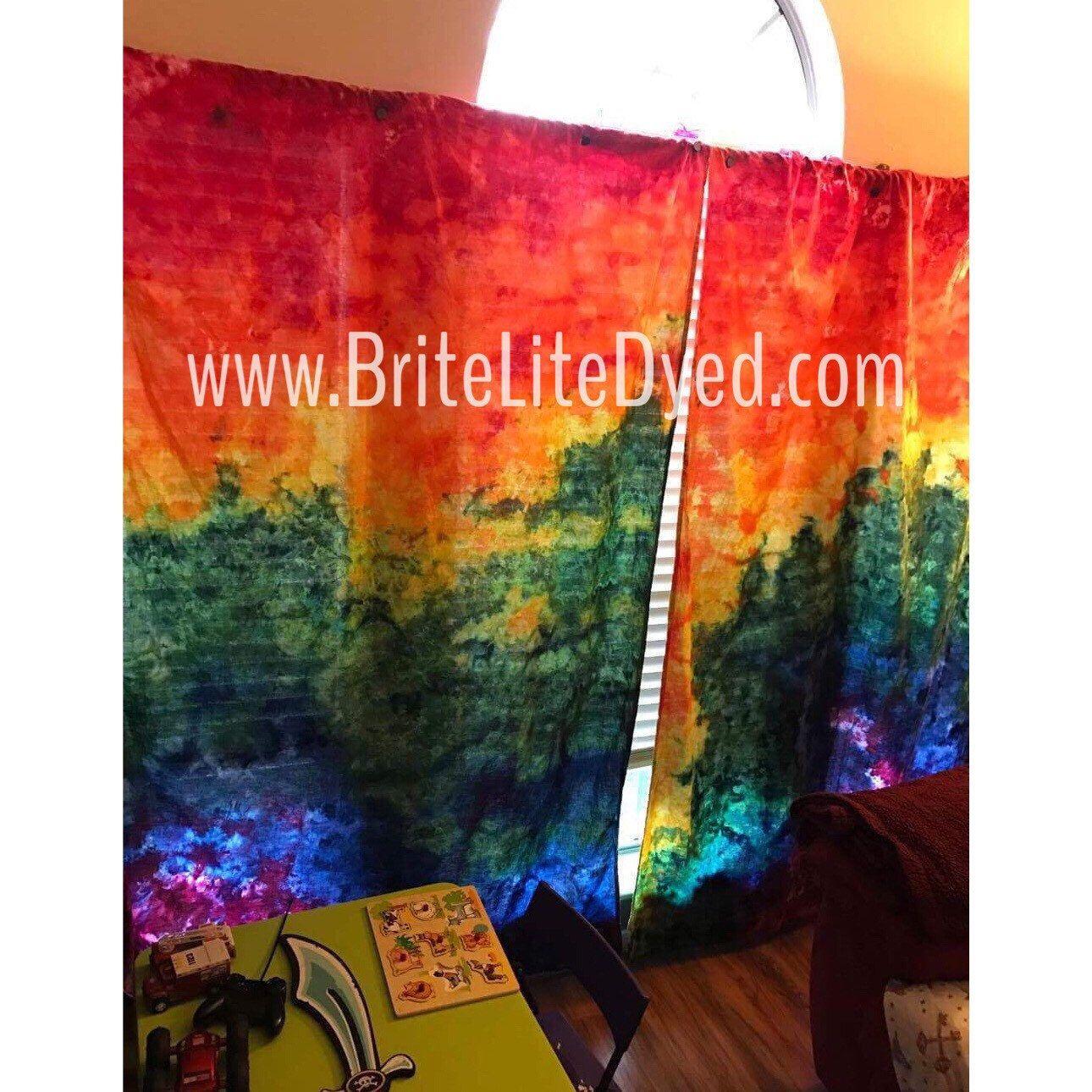 Window Curtains   Tie Dye Curtains   Tiedye Curtains   Hippie Room   Home  Decor   Home Curtains   Window Curtains   Tie Dye   Tye Dye