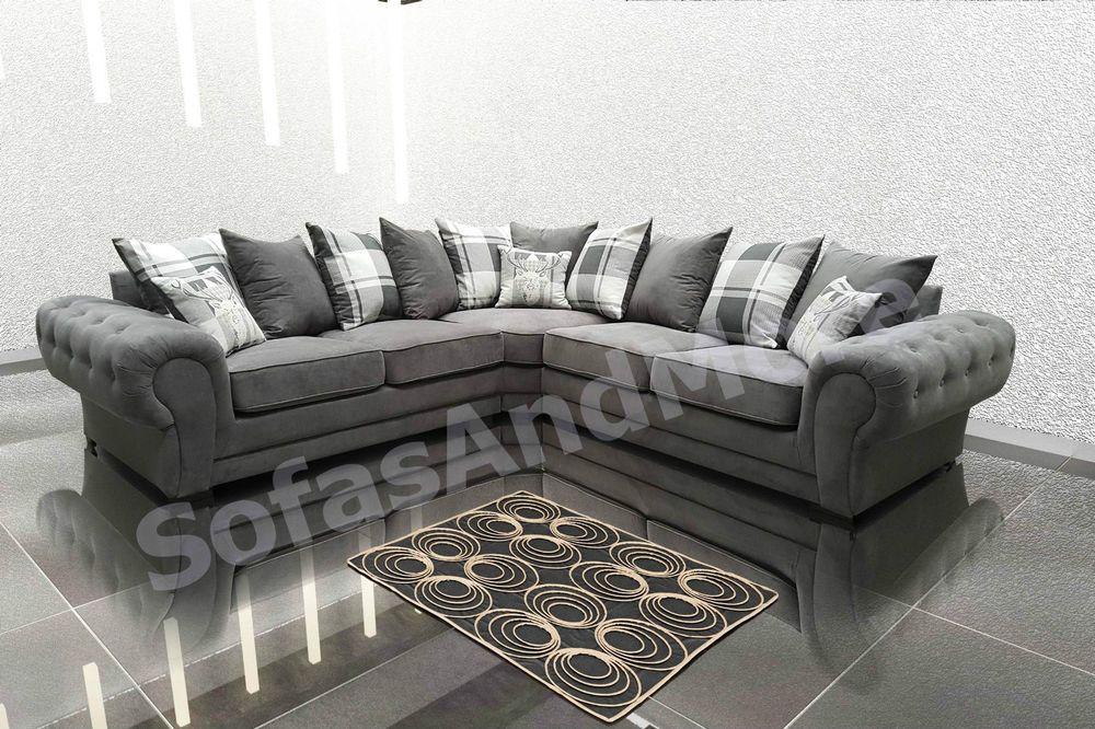 Details About Chesterfield Corner Sofa Suite Verona Grey Velour Fabric 3 2 Seater Sectional Corner Sofa Fabric Corner Sofa Chesterfield Corner Sofa