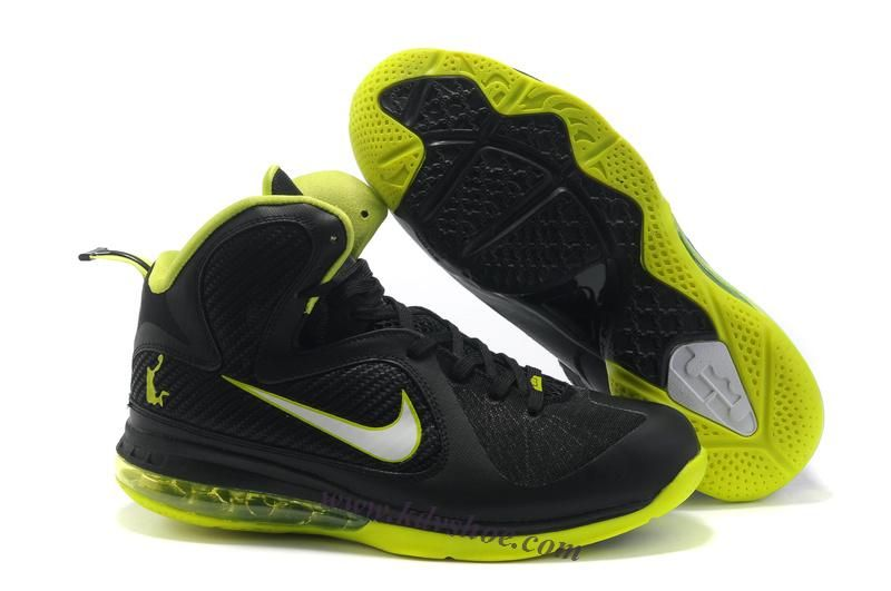 Nike Air Foamposite Shoes Nike LeBron 9 Black Neon [Nike LeBron 9 - Neon  lining, LJ crown logo, 180 Max Air and Zoom Air, and rubber outsole look  very ...