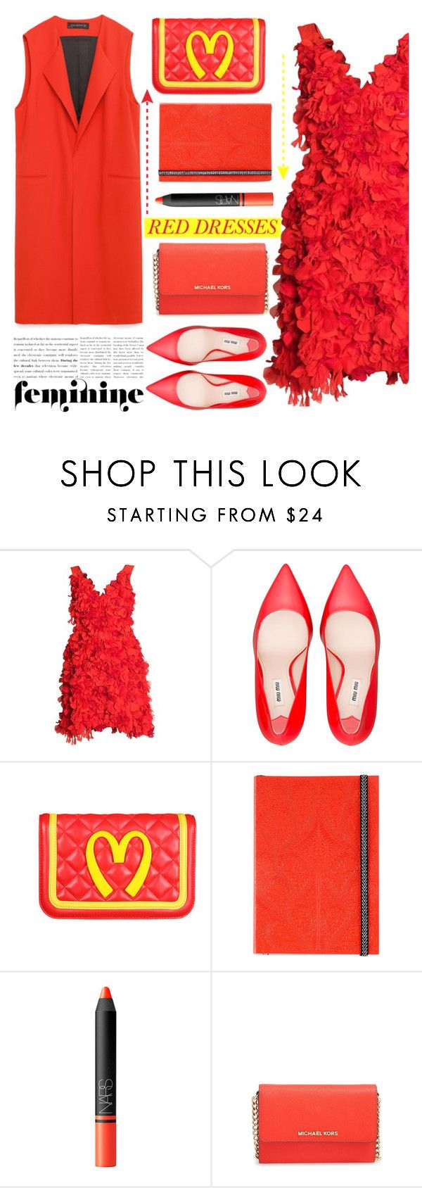 """""""No 310:Hot Red Dress"""" by lovepastel ❤ liked on Polyvore featuring Parlor, Miu Miu, Moschino, Christian Lacroix, NARS Cosmetics, MICHAEL Michael Kors, women's clothing, women, female and woman"""