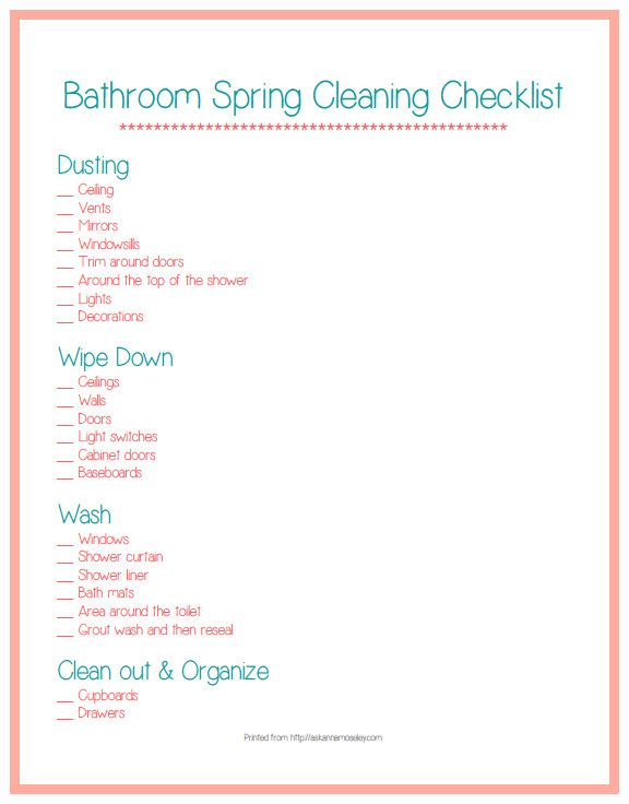Spring Cleaning the Bathroom \ a HUGE Giveaway!!! - Ask Anna - sample spring cleaning checklist