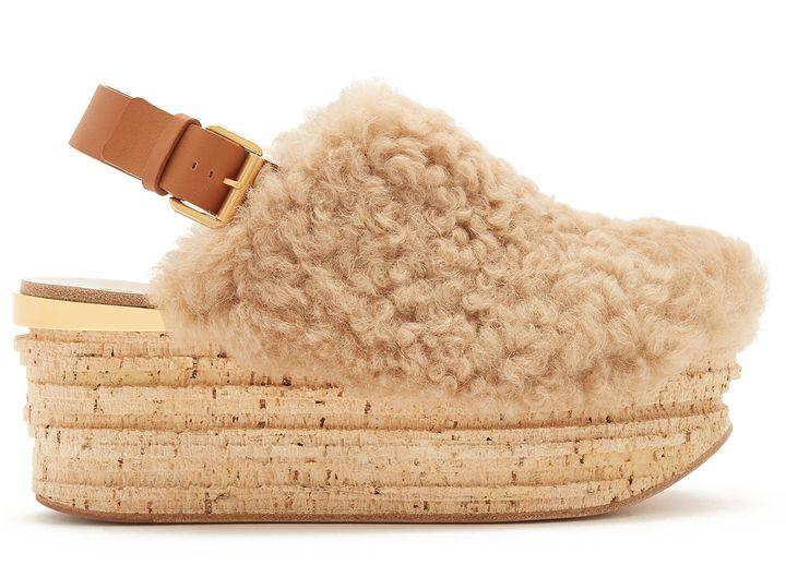 72e5b7764d4 CHLOÉ Camilla shearling wedge sandals