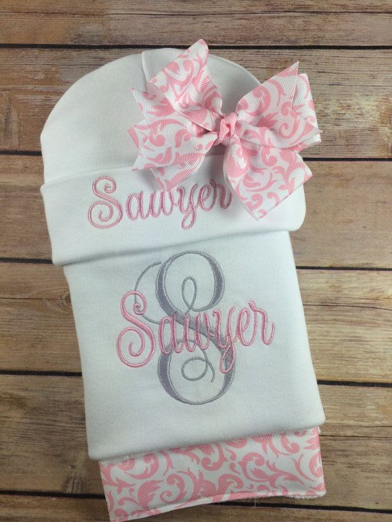 Baby girl coming home outfit personalized interlaced vines this monogrammed baby bodysuit or gown set will make a wonderful personalized baby gift for the negle Gallery