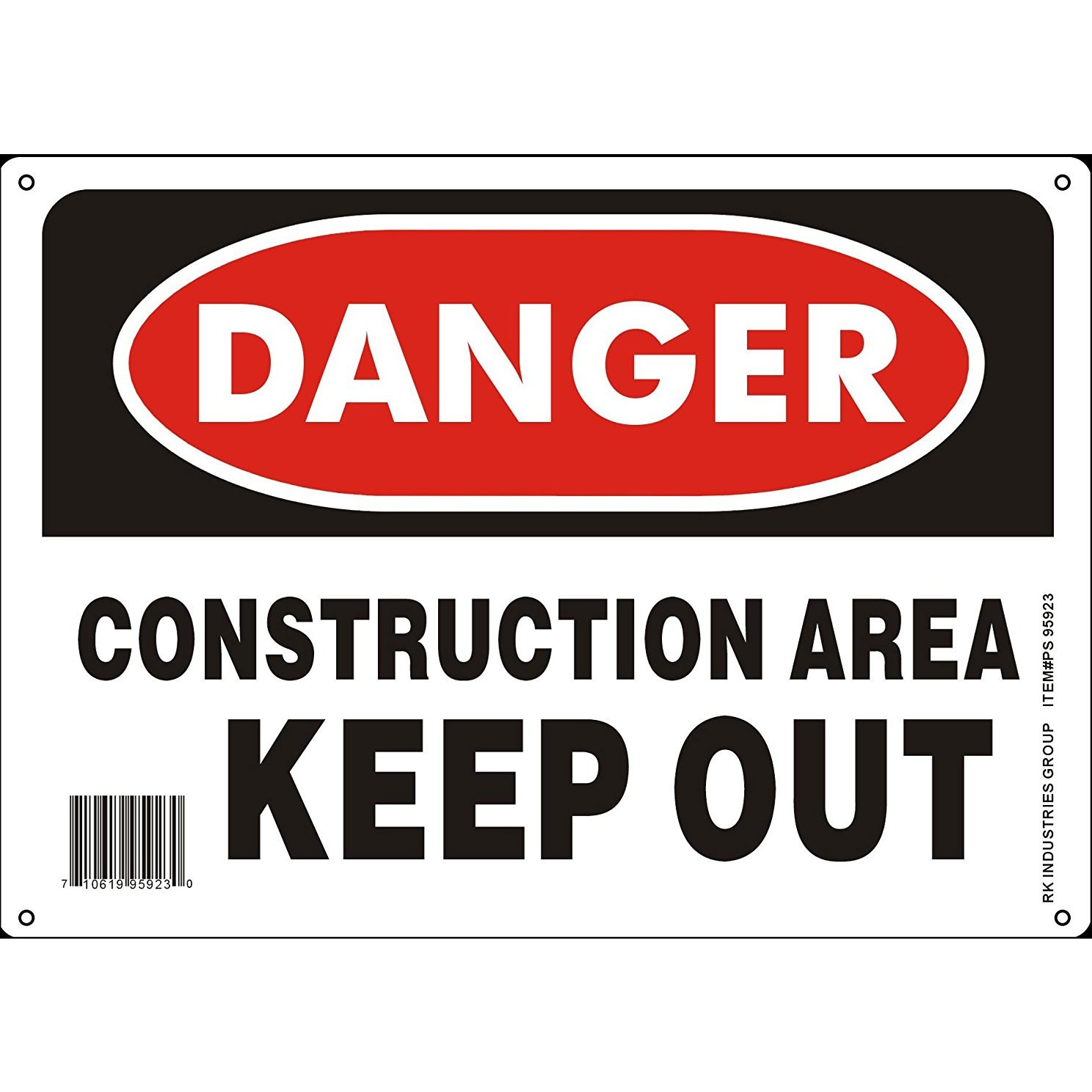 Rk Osha Safety Sign Legend Danger Construction Area Keep