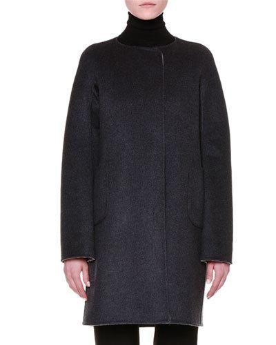 Jil Sander Kimono-Sleeve Reversible Cashmere Coat, Gray Online Cheap