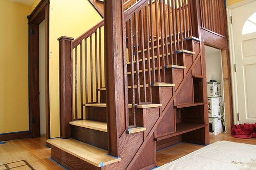 Craftsman Stair Railings | The Lower Stairs With Newel Posts, Railing, And  Shelves.