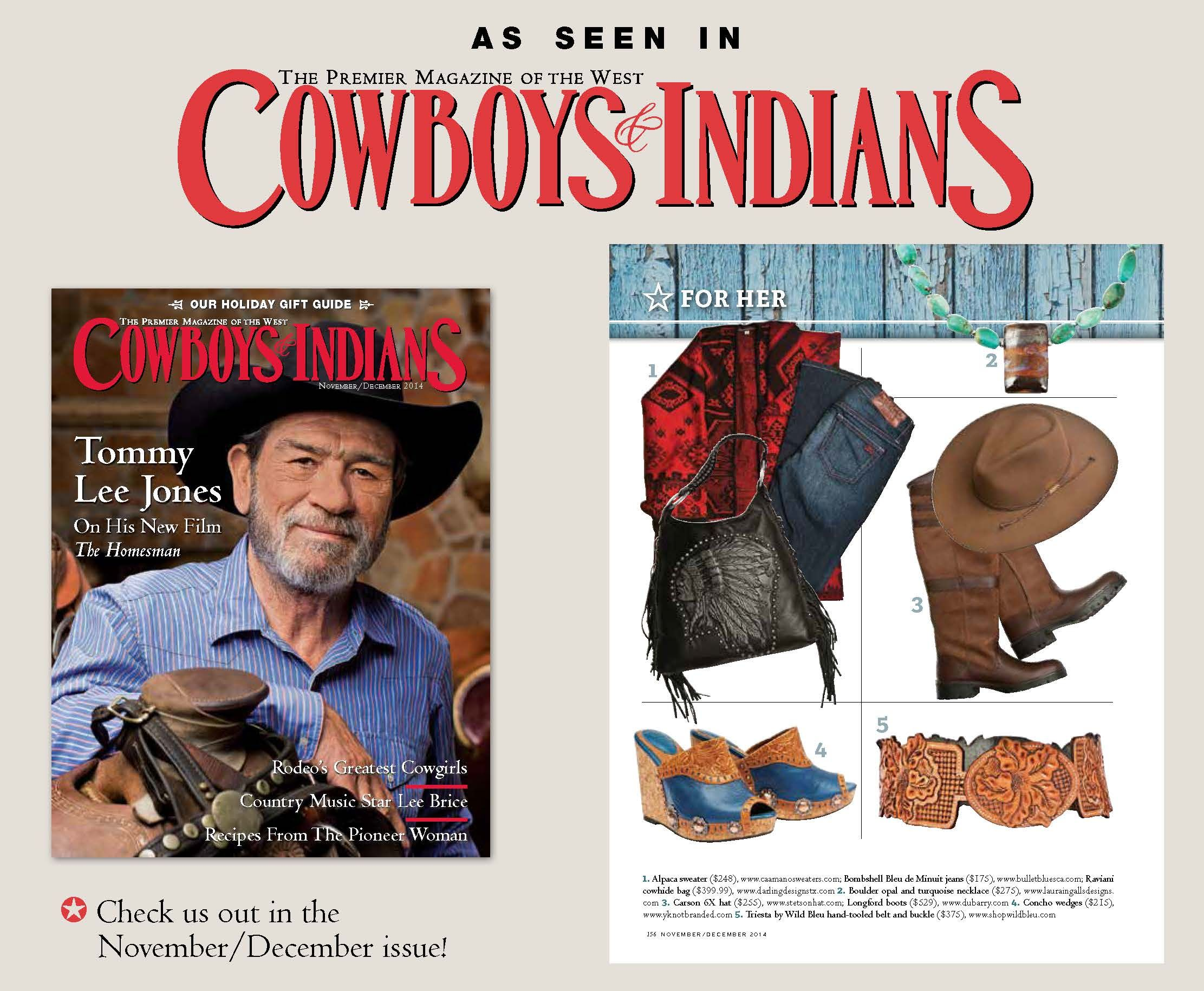 Boulder Opal from Queensland, Australia paired with Turquoise nuggets and Sterling Silver necklace featured in the Cowboys & Indians magazine 2014 Holiday Gift Guide.