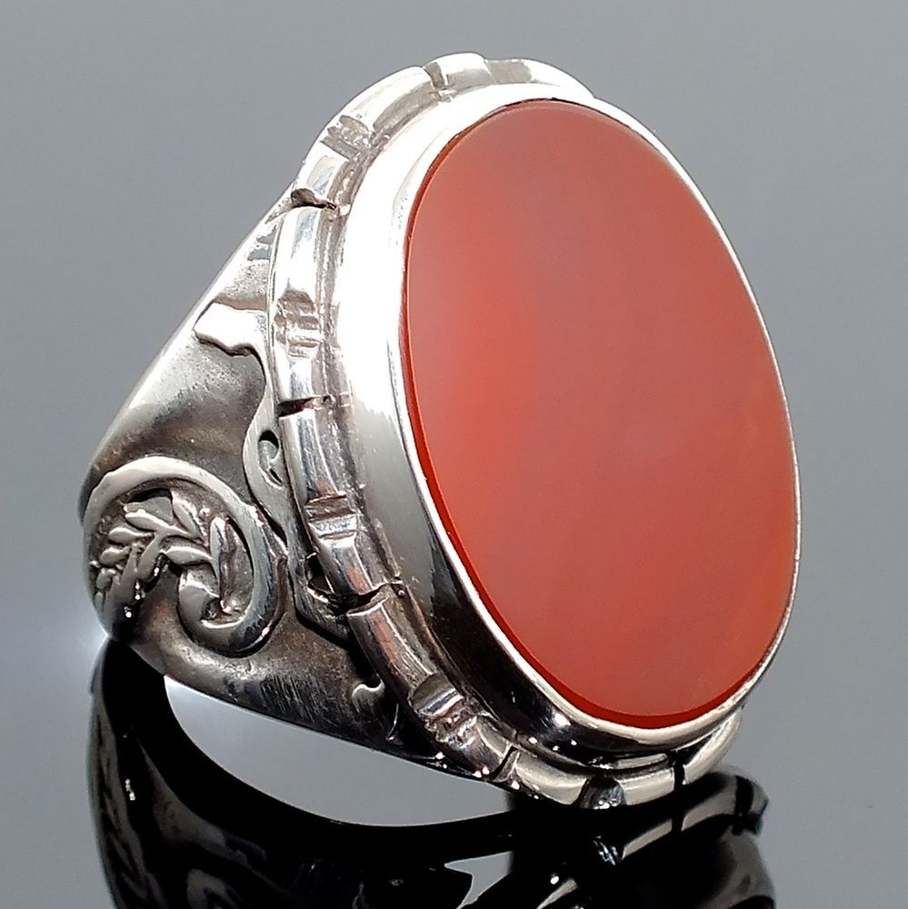 925 Sterling Silver Ring Carnelian Aqeeq Unique Handmade Men\'s ...