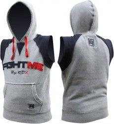 d6e8b302 Authentic RDX Fleece Fight Me Sleeveless Hoodie MMA Boxing T-Shirt Shorts  Gym Vest Men