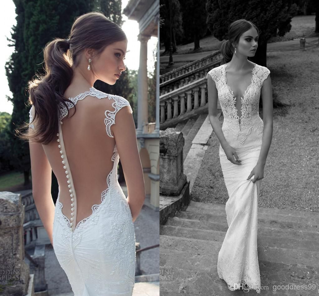 Sexy Deep V Neck Mermaid Lace Wedding Dresses Illusion Sheer Back ...