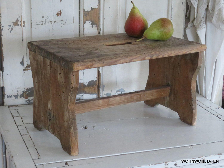 Antique Handmade Wooden Stool Vintage Footrest Made Of Untreated Wood Old Folding Stool Into The Woods Hocker Unbehandeltes Holz