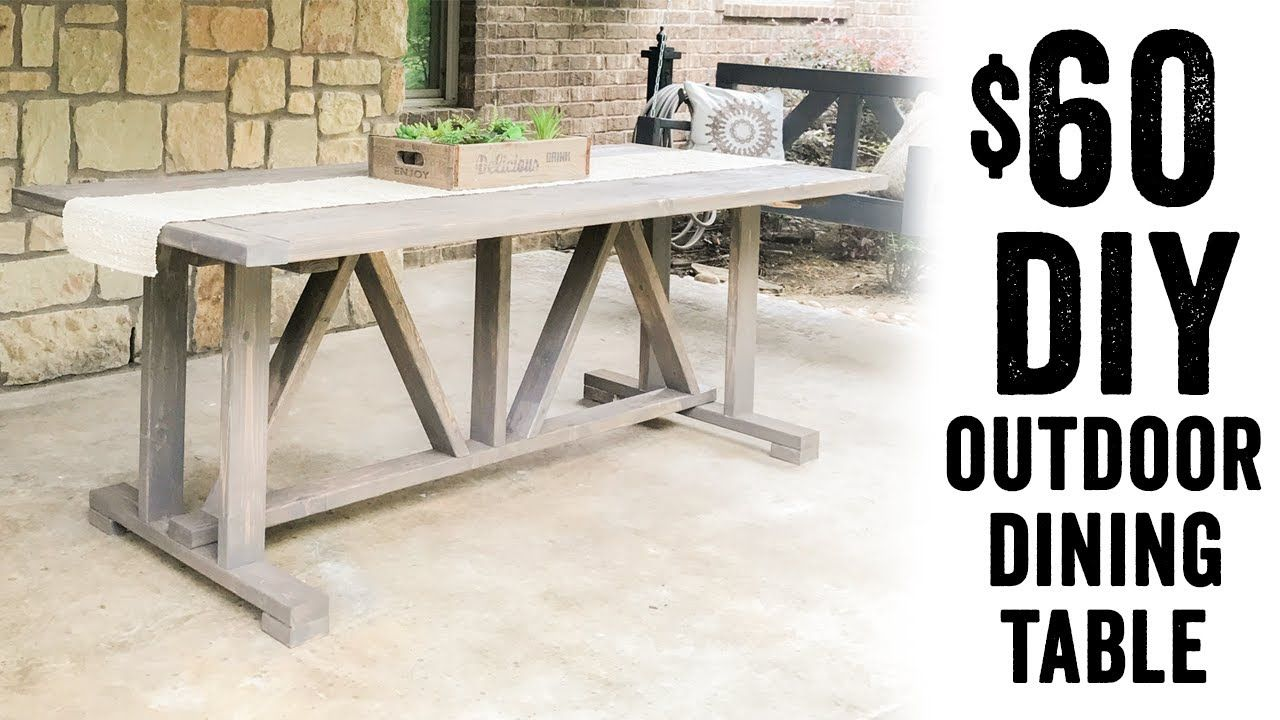 Build your own diy outdoor dining table using a few tools and 17 2x4 studs making the lumber cost for this table under 60 dont forget to download the