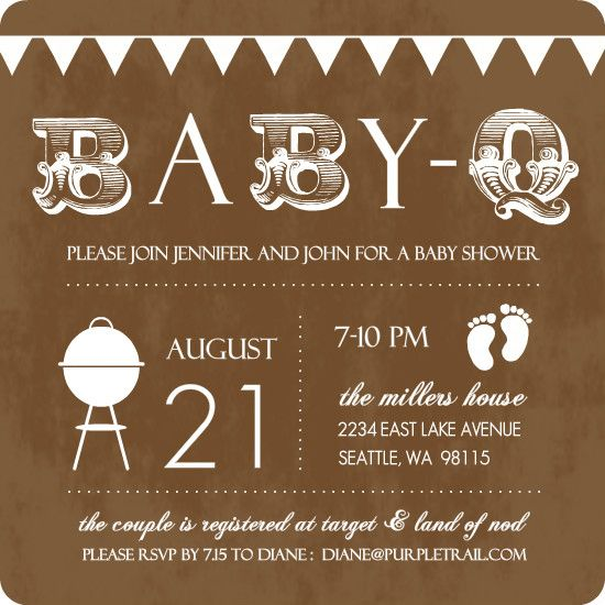 Baby Q Brown And White Baby Shower Invitation By PurpleTrail.com