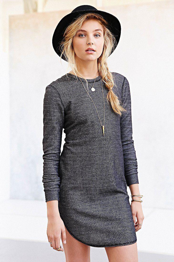 BDG Ribbed Knit Scoop-Back T-Shirt Dress